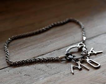 Sterling Silver initial bracelet, personalized bracelet, handmade silver letter, Valentine's gift