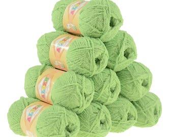 10 x 50 g soft yarn fluffy wool SOFTY by ALIZE #242 pistachio Green
