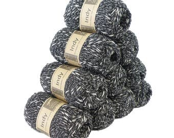10 x 50g recycled yarn Indy, color 012 Black-White