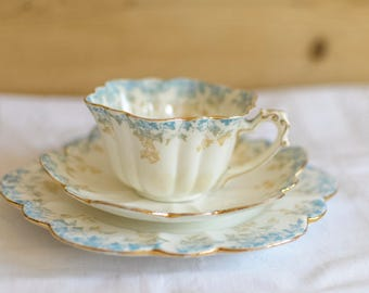 Rare Wileman Empire Teacup Trio, teacup set, vintage china teacups, floral teacups, Foley china