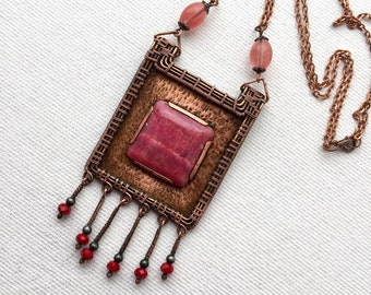 Copper and rhodochrosite pendant