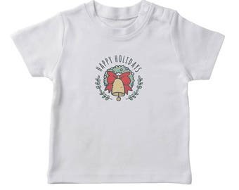 Happy Holidays Christmas Wreath And Bell Graphic  Girl's White T-shirt