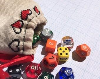 Zelda inspired heart container dice bag