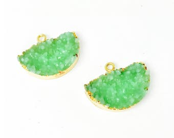 2pc Green Resin Stone Druzy Pendant