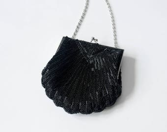 Vintage 20's Black Hand Beaded Coin Purse