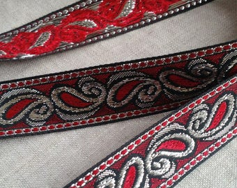 LOT OF 5 Yards Vintage Metallic Tone Trim, Red, Black, Silver, Sewing, Ribbon, Paisley, Clothing, Decor, Upholstery, Costuming, Costume