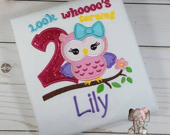 Look Whoos Turning Owl Birthday Shirt, First Birthday, Second Birthday, Third Birthday, Girl Birthday Outfit, Girl Birthday Shirt