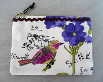 "Petite pochette ""BIRDY"" en tissu."