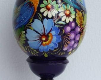 Colourful wooden egg - Ukrainian folk art