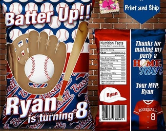 Baseball chip bag-Baseball party favor-treat bag-Baseball birthday party-Baseball banquet-Baseball baby shower-gender reveal-DIGITAL FILE