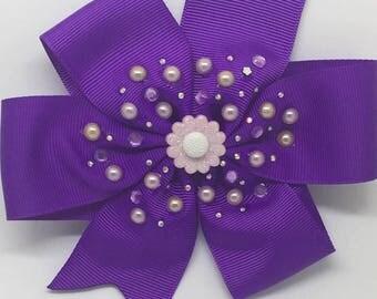 Flower - Large:12.5cm Pinwheel Hair Bow Clip