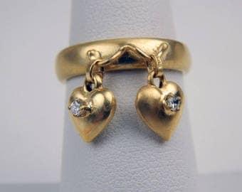 18k gold  diamond hearts charm ring #10048