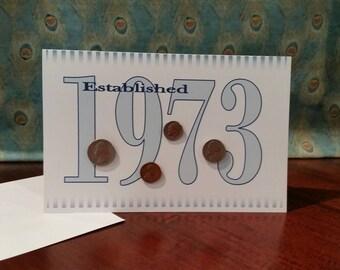 1973 Coin Greeting Card, 1973 Coin Birthday Card, Coin Card, 1973 Coin Card, 1973 Coins, Born in 1973, 1973 Gift, 1973 Birthday Card, 1973