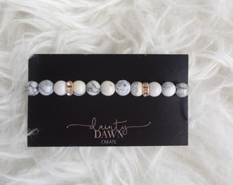 Rhinestone Marble Bracelet Howlite Dainty Dawn