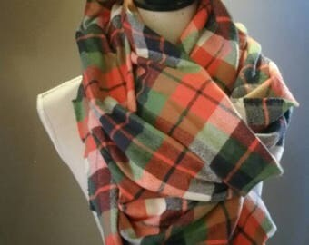 Flannel red, green, blue mammoth plaid blanket scarf