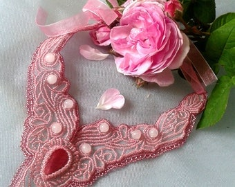 Delicate rose beaded necklace with ruby and quartz