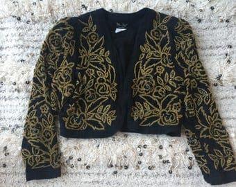 Vintage 70's DIANE FREIS Fres BEADED Floral Jacket Bolero Blouse Top S M L - So Gucci!!!