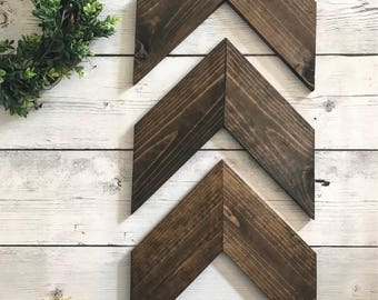 3 Large Wooden chevron arrows | wall accents | rustic | wooden arrows |