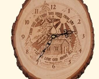 """Rustic St. Herman Clock ( ~ 8"""" x10 """" )"""