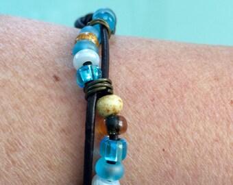 Leather Beaded Bracelet ,Boho Bracelet ,