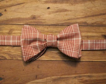 Cotton Bow Tie - Candy Cane Plaid