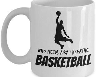 Basketball Coffee Mug - I Breathe Basketball; basketball coffee mug, basketball gift, basketball mug, basketball coach gift, made in USA
