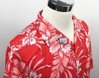 Rai Nani Mens 2XL Vintage Hawaiian Aloha Shirt Red White Floral Poly USA Made