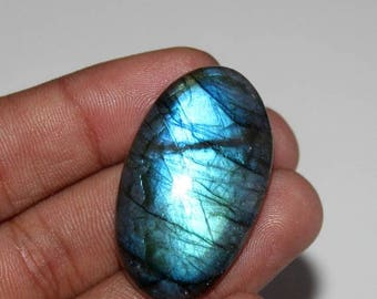 Brilleant !! ~ 100% Natural Blue Flash Labradorite Smooth  Cabochon Oval Shape 21x37.mm Approx Good Quality On Whole Sale Price { LBCS-31}