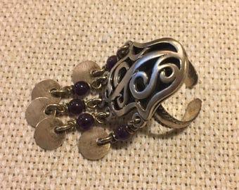 Amazing Handmade Silver Ring with Purple Amethyst Beads, Hamsa, Hand of Fatima, Evil Eye, Egyptian, Bohemian, BohoCairo