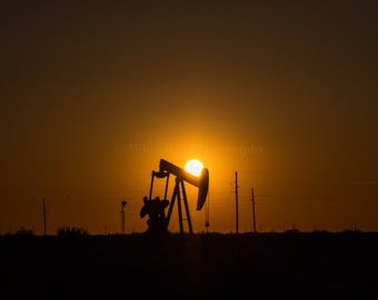 West Texas Pump Jack At Sunset  Fine Art Print