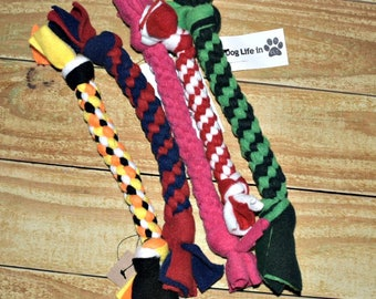 Choose Your Colors- Handmade Fleece Rope Dog Tug Toy