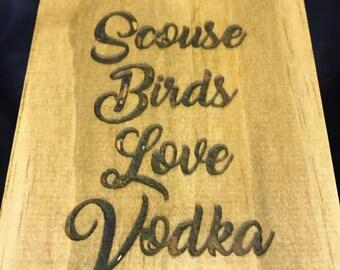 Scouse Birds Love Vodka Bottle Holder