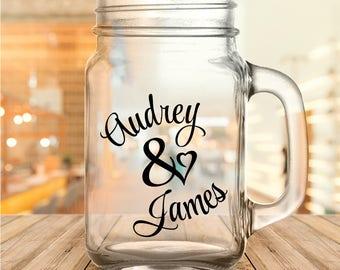 Custom Personalized Heart Wedding Favor Mason Jars