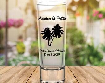 Custom Palm Tree Tall Wedding Favor Shot Glasses