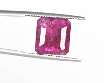 Faceted Pink Beryl 6.00 Ct. 100% Natural Perfect Emerald Cut 11 x 10 x 4 mm Pink Beryl Bixbite Loose Gemstone For Jewelry Making DG-790