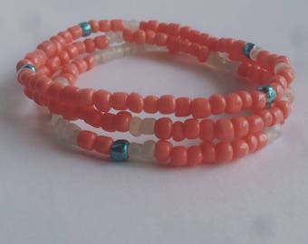Pink and Blue Beaded Stackable Bracelets