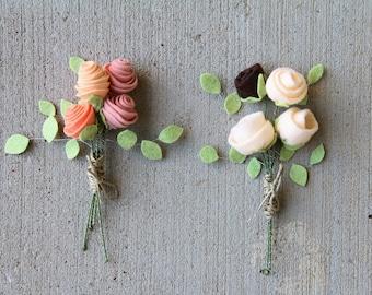 Felt Flower Bouquet, Set of 4