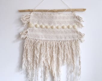 Handwoven cotton and wool wall hanging