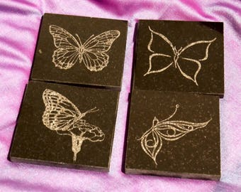Black Granite Tile Coaster Set, Engraved with Butterflies