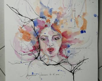 Original watercolor only woman