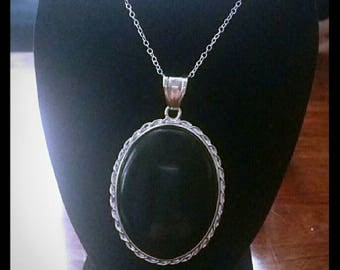 Black Agate Necklace with 925 Chain