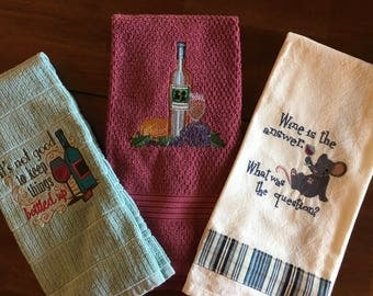Wine Theme Embroidered Kitchen Towel Set