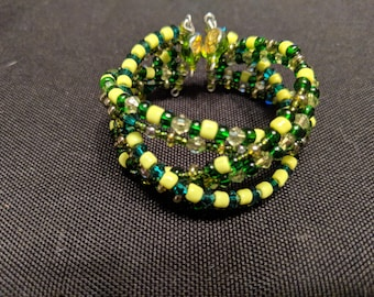 Bright Green Braided Memory Wire Bracelet