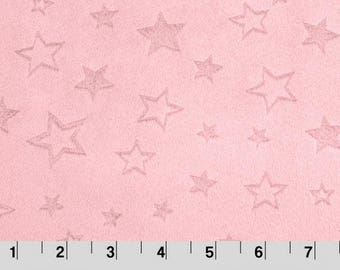 Embossed Star Cuddle Blush, Star Minky, Shannon Minky Fabric, Shannon Cuddle Minky, Embossed Minky Fabric, Minky by Yard, 100% Cotton