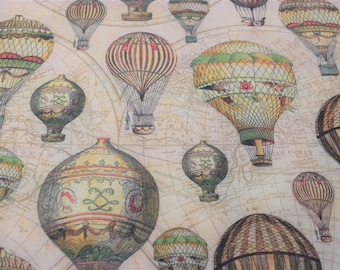 hot air balloon fabric, quilting fabric, vintage hot air Balloon fabric, fabric by the yard, balloon fabric, map fabric, travel fabric