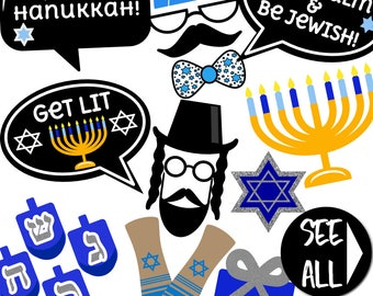 Hanukkah Photo Booth Props - 33 Printable Props Party Props, Dreidel, Menorah, Yamaka, Star of David, Latke, Tallit - INSTANT DOWNLOAD PDF