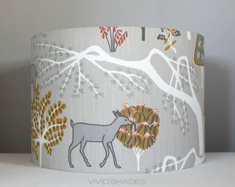 Scandinavian fabric large lampshade handmade by vivid shades, retro woodland tree + fox + deer pattern shade, funky 40cm custom made shade