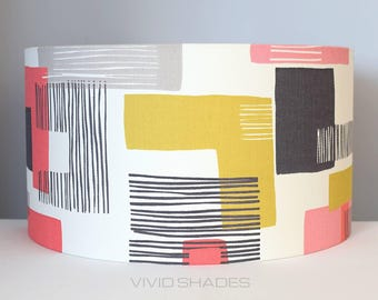 Geometric lampshade handmade by vivid shades, modern abstract light shapes and lines, stylish cool and funky drum ceiling mid mod red yellow