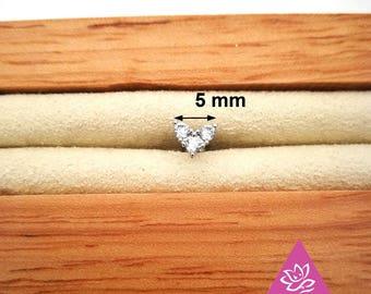 1 pcs helix lobe HEART screw behind 5mm titanium with 3mini  diament oxyde de zirconium 2mm minimaliste géométrique Stud ligne