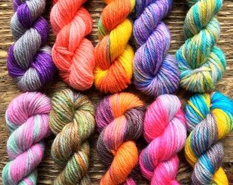Hand Dyed Sock Yarn Mini Skein Set #71 -- 10 Mini Skeins/25 Yards Each/5.5 Grams Each